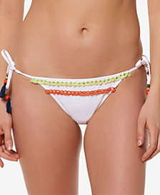 Jessica Simpson Fringed Side-Tie Cheeky Bikini Bottoms