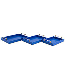 Zuo Gela 3-Pc. Blue Textured Tray Set