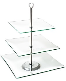 """Three Tier Square Glass Buffet and Dessert Stand by Chef Buddy, 16"""" x 11.5"""" x 11.5"""""""