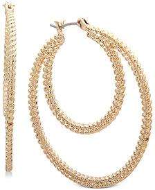 Nine West Textured Double Hoop Earrings