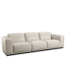 """Zeraga 109"""" 3-Pc. Leather Modular Sectional, Created For Macy's"""
