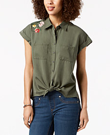 Style & Co Tie-Front Embroidered Shirt, Created for Macy's