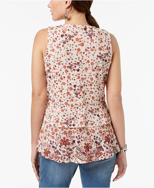 amp; Floral Style Macy's Co Created for Top Print Global Peplum Ivory wqqFdHE