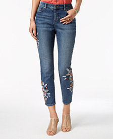 Style & Co Curvy-Fit Embroidered Skinny Jeans, Created for Macy's