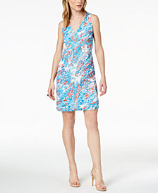 Bar III Printed Shift Dress, Created for Macy's