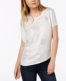 Bar III Metallic Asymmetrical T-Shirt, Created for Macy's