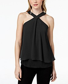 Flutter-Overlay Halter Top, Created for Macy's