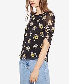 Avec Les Filles Floral-Print Ruched-Sleeve Top