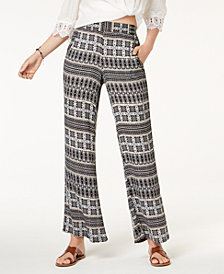 BCX Juniors' Printed Wide-Leg Pants