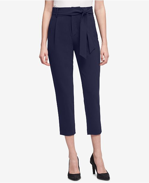 DKNY Tie-Waist Cropped Pants, Created for Macy's