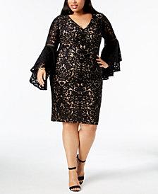 Xscape Plus Size Bell-Sleeve Burnout Damask Dress