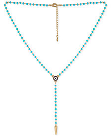 "RACHEL Rachel Roy Gold-Tone Beaded Lariat Necklace, 15-1/2"" + 2"" extender"