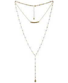 "RACHEL Rachel Roy Gold-Tone Beaded Wanderlust Double-Layer Lariat Necklace, 15""/28"" + 2"" extender"