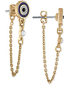 RACHEL Rachel Roy Gold-Tone Crystal Stud & Chain Front-and-Back Earrings