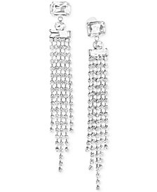 Steve Madden Silver-Tone Crystal Fringe Chandelier Earrings