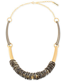 "Steve Madden Two-Tone Wavy Rings & Curved Bar Necklace, 20"" + 4"" extender"