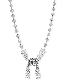 "Steve Madden Silver-Tone Beaded Crystal Tie Collar Necklace, 16"" + 3"" extender"