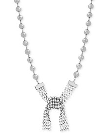 "Steve Madden Silver-Tone Beaded Crystal Tie Collar Necklace, 16"" + 3"" extender"