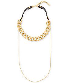 "Steve Madden Gold-Tone Chain & Leather Double Layer Choker Necklace, 15-1/2"" + 3"" extender"