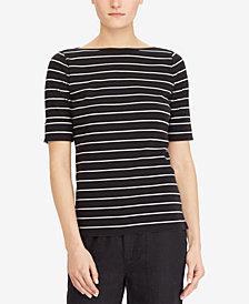 Lauren Ralph Lauren Knit Elbow-Length-Sleeve Top