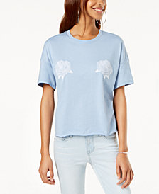 Carbon Copy Embroidered Cropped Top