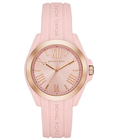 Michael Kors Women's Bradshaw Pale Pink Silicone Strap Watch 38mm