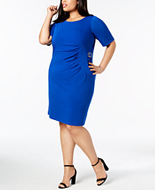 Jessica Howard Plus Size Starburst Pleated Sheath Dress