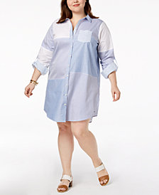 Tommy Hilfiger Plus Size Cotton Patchwork Shirtdress, Created for Macy's