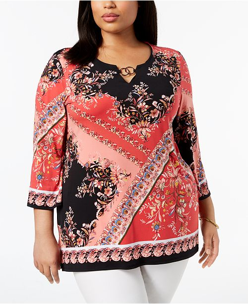 Tunic Printed for Embellished Created JM Plus Collection Macy's Size Garden Enchanting Top qw4nfF