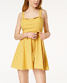Living Doll Juniors' Printed Fit & Flare Mini Dress