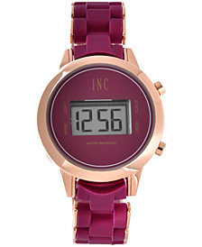 I.N.C. Women's Digital Boyfriend Rose Gold-Tone &  Silicone Bracelet Watch 36mm, Created for Macy's