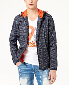A|X Armani Exchange Men's Hooded Geometric Jacket