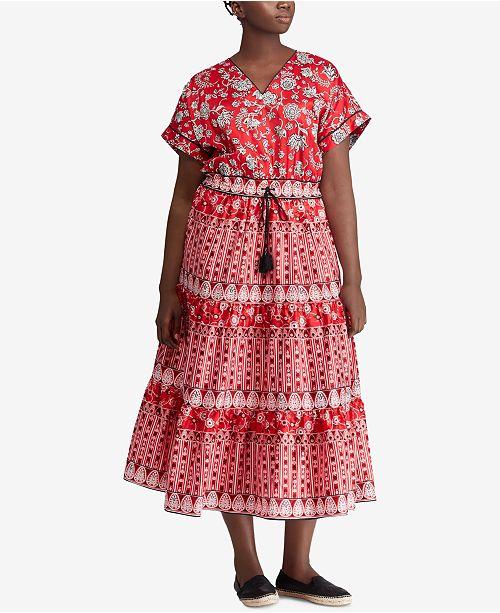 Lauren Ralph Lauren Plus Size Floral-Print Cotton Dress ...