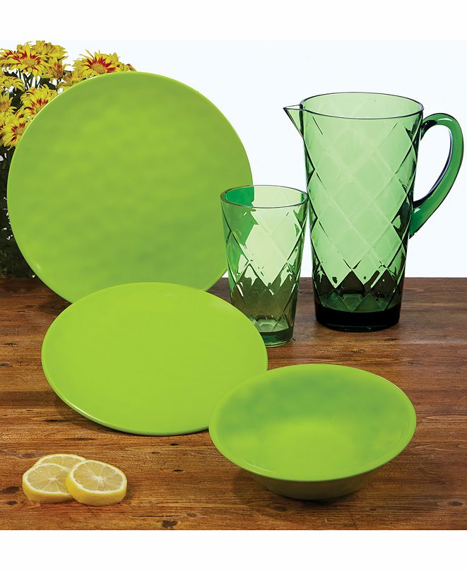 Certified International Green Melamine Dinnerware