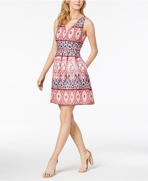 ab8e48eaaa45 Vince Camuto Geo-Print Fit   Flare Dress   Reviews - Dresses ...