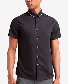 Kenneth Cole New York Men's Ribbed-Collar Shirt