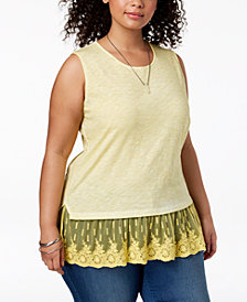 Style & Co Plus Size Sheer-Hem Sleeveless Top, Created for Macy's