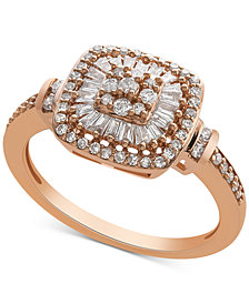 Diamond Vintage-Inspired Ring (1/2 ct. t.w.) in 14k White Gold, Yellow Gold and Rose Gold.