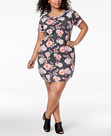 Planet Gold Trendy Plus Size Printed T-Shirt Dress