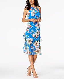Vince Camuto Floral Printed Ruffled Midi Dress