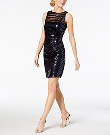 Vince Camuto Sequined-Stripe Sheath Dress