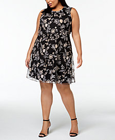 Calvin Klein Plus Size Embroidered A-line Dress