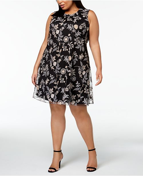b9c70b1136ac Calvin Klein Plus Size Embroidered A-line Dress   Reviews - Dresses ...