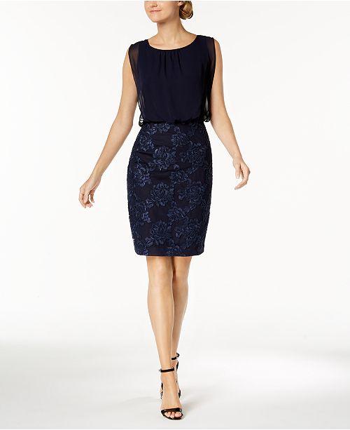 e605a6a56595f Calvin Klein Chiffon   Embroidered Blouson Dress   Reviews ...