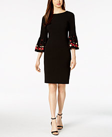 Calvin Klein Embroidered Bell-Sleeve Sheath Dress