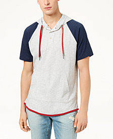 American Rag Men's Colorblocked Short-Sleeve Hoodie, Created for Macy's