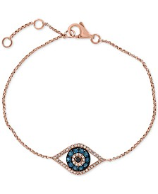 Gift by EFFY® Diamond Evil Eye Bracelet (1/3 ct. t.w.) in 14k Rose Gold