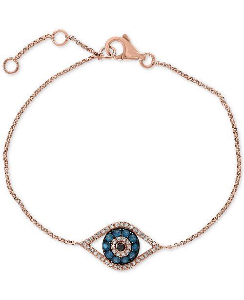 1e039df0e5b6a Gift by EFFY® Diamond Evil Eye Bracelet (1/3 ct. t.w.) in 14k Rose Gold