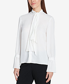 Tahari ASL Tie-Neck Button-Front Blouse