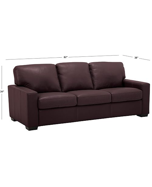 Ennia 82 Leather Sofa, Created for Macy\'s